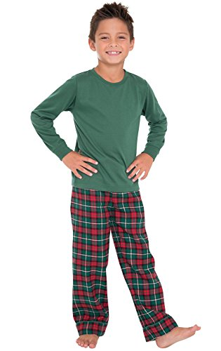 PajamaGram Red & Green Plaid Matching Family Christmas Pajamas Green Youth 12
