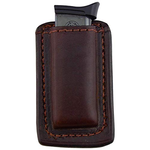Relentless Tactical Leather Magazine Holder | Made in USA | Sizes to fit virtually Any 9mm.40.45 or .380 Pistol Mag | Single or Double Stack | IWB or OWB 380 Brown