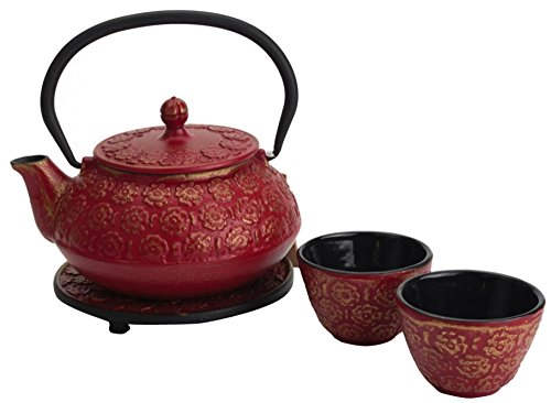 Red Tetsubin Tea Set Teapot (M.V. Trading T8200 Cast Iron Tea Set with Trivet, 22 Ounce, Burgundy Floral Design)