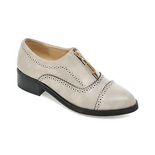 Toe WeenFashion Pumps Heels Low Zipper Women's Shoes Pointed Gray Solid PU Closed FFpBxS6w