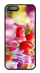 Protective PC Case Skin for iphone 5 Black PC Case Back Cover Shell for iphone 5S with Colorful Flower