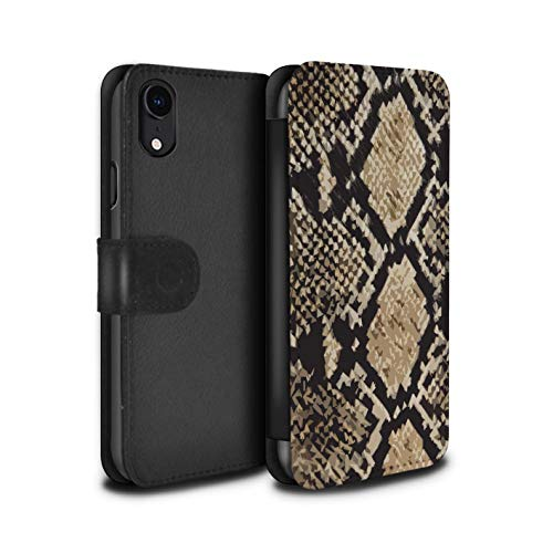 eSwish PU Leather Wallet Flip Case/Cover for Apple iPhone XR/Snake Skin Effect Design/Fashion Animal Print Pattern Collection
