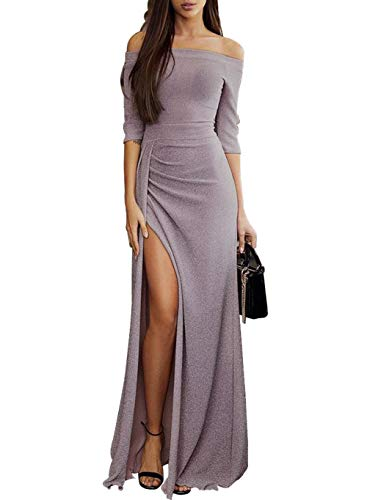 Maxi Party Dress for Women Boat Neck Evening Ladies Solid Long Off Shoulder High Slit Prom Cocktail Plus Size X-Large (US 16-18) L-light ()