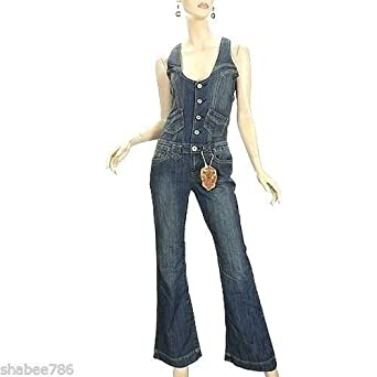 1a1bf15c23d4 Amazon.com  Vanilla Star New Womens Denim Jumpsuit 70 s 80 s Vintage ...