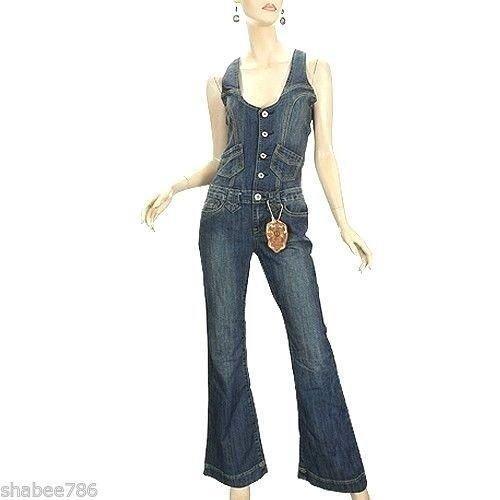 f96da38531bf Amazon.com  Vanilla Star New Womens Denim Jumpsuit 60 s 70 s Vintage Over  All Jeans M Medium  Clothing