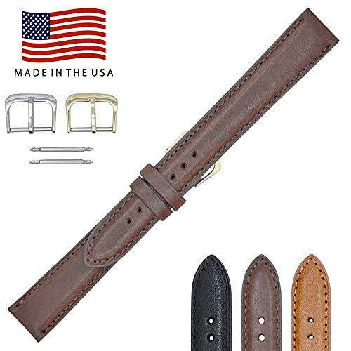 ana Genuine Leather Watch Band Strap – American Factory Direct - Gold & Silver Buckles Included – Made in USA by Real Leather Creations FBA948 ()