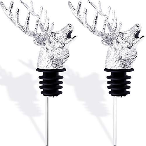 Aerator Pewter - Blulu 2 Pieces Deer Head Shape Wine Pourer Silvery Animal Wine Aerators Pourer