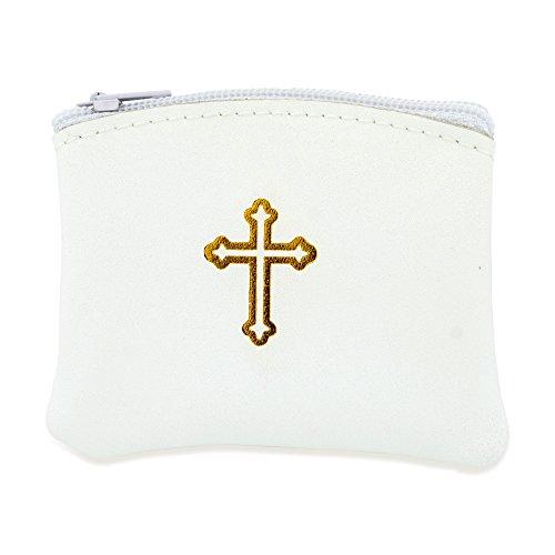 Genuine Leather Catholic Rosary Case (1, White)