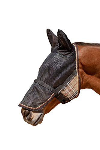 Kensington UViator Protective Fly Mask with Removable Nose and Ears (Deluxe Black, Large) (Best Uv Fly Mask For Horses)