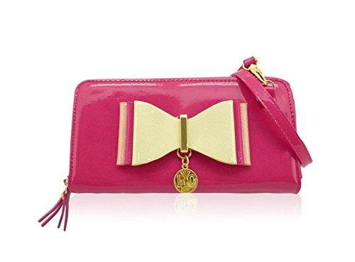 Ladies LYDC Designer Bow Purse Clutch Bag - Women's Large Patent Wallet Handbag GPL310 Pink