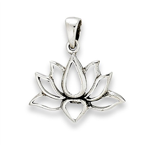 New Sterling Silver Charm Pendant (Flower Lotus Pendant .925 Sterling Silver Symbol Strength Om Peace Transformation Charm)