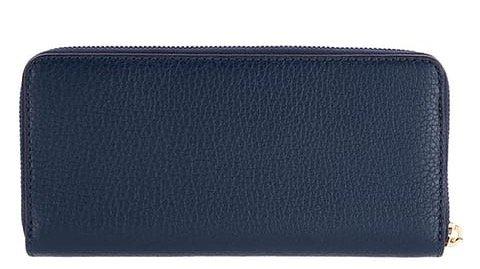Michael Kors Bedford Large Three Quarter Zip Around Pebbled Leather Wallet (Navy)
