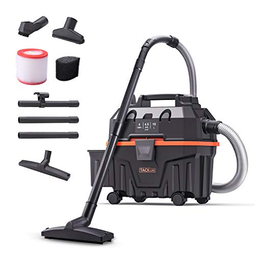 Wet Dry Vacuum, TACKLIFE 4 Gallon 1.6 Peak Hp Bagless Wet Dry Vac, Wet/Dry/Blowing 3 in 1 Function, Suitable for Indoor and Outdoor Use