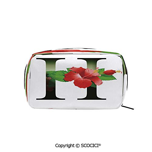 Rectangle Beauty Girl And Women Cosmetic Bags Hibiscus Design Green Leaves Color Flower Natural Pattern Print Printed Storage Bags for Girls Travel