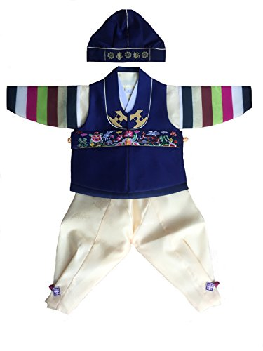 [Korean hanbok Baby Boy Blue and Yellow Traditional Costume Size 2] (Korean Costume For Boys Kids)