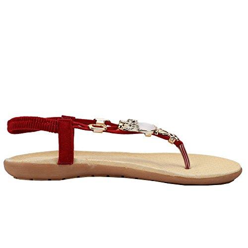 Le Donne Di Vendita Caldo Comfort Scintilla Cristallo T-strap Flip Flop Sandali Abito Piatto Rosso