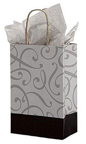 Small Black & Silver Swirl Paper Shopping Bags - Case of 100. by STORE001