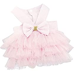 Wakeu Small Dog Girl Dress Pet Puppy Cat Lace Tutu Stripe Vest Skirt Clothes (M, Pink)