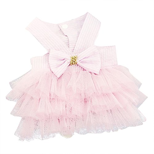 Wakeu Small Dog Girl Dress Pet Puppy Cat Lace Tutu Stripe Vest Skirt Clothes (XS, Pink)