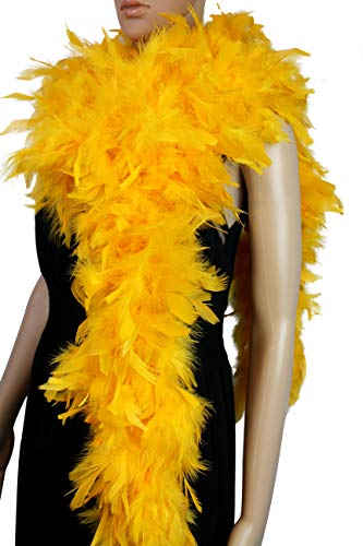 Yellow Feather Boa (100 Gram 2 Yard Long Chandelle Feather Boa Over 10 Colors, Great for Party, Wedding, Costume (Gold)