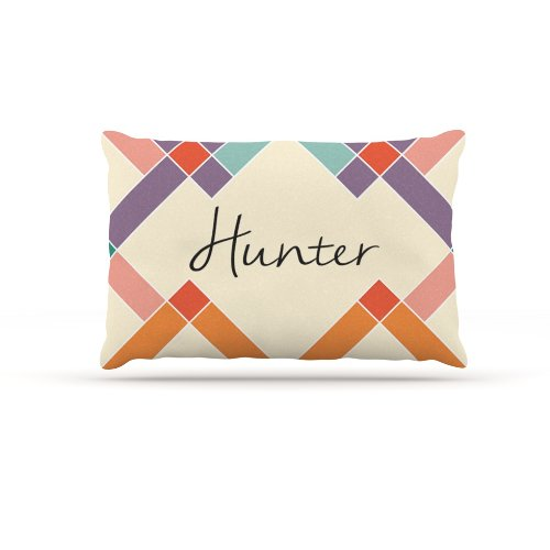 Kess InHouse ''Hunter'' Colorful Geometry Name Fleece Dog Bed, 30 by 40-Inch, Rainbow/Tan by Kess InHouse