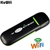 KuWFi Unlocked Smart 3G USB Mobile hotspot WIFI Dongle Mini USB WIFI Hotspot Router Data Card with Wi-Fi 3G WiFi Modem SIM Slot Router use for Car SIM Card Not included Support 2100 network band