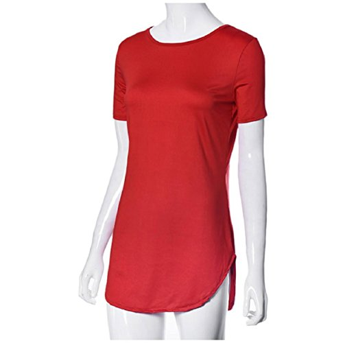 camiseta tops de del la raja partido mujeres ocasional mini atractivas lado del Culater manga Rojo corta de vestido Las tIqw7