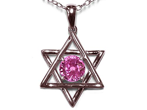Star K Jewish Star of David Pendant Necklace with Round Created Pink Sapphire 14 kt Rose Gold