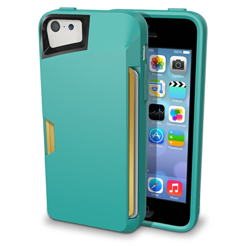 iPhone 5c Wallet Case - Slite Card Case for iPhone 5c by CM4 - Pacific Green- [Ultra Slim Protective iPhone Wallet] by CM4