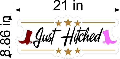 (Just Hitched Western Wedding Static Cling Window Decals Removable and Reusable Wedding Clings Car Decorations)