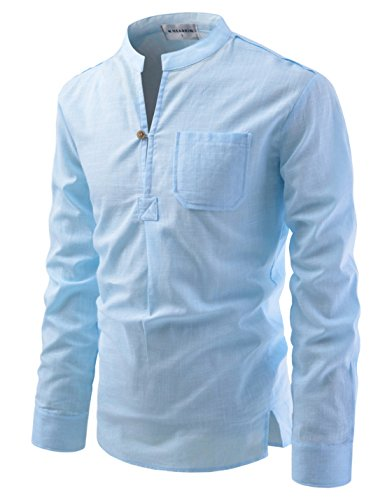 NEARKIN (NKNKN351 Henley Neck Light Weight Chinese Collar Cool Linen Shirts Sky US M(Tag Size M)
