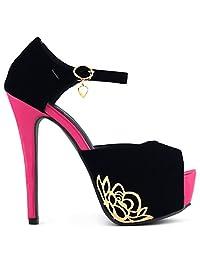 Show Story Black Metallic Floral Ankle Strap Platform Stiletto Sandals,LF80828