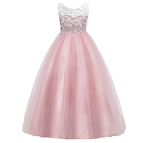 HUANQIUE Girls Lace Wedding Party Dress Bridesmaid Flower Girl Maxi Dresses Pink 7-8 Years for $<!--$26.69-->