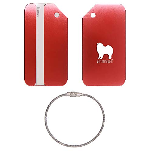 (ANIMAL GOT SALUKI HOUND DOG STAINLESS STEEL - ENGRAVED LUGGAGE TAG (SCARLET RED) - UNITED STATES MILITARY STANDARD - FOR ANY TYPE OF LUGGAGE, SUITCASES, GYM BAGS, BRIEFCASES, GOLF BAGS)