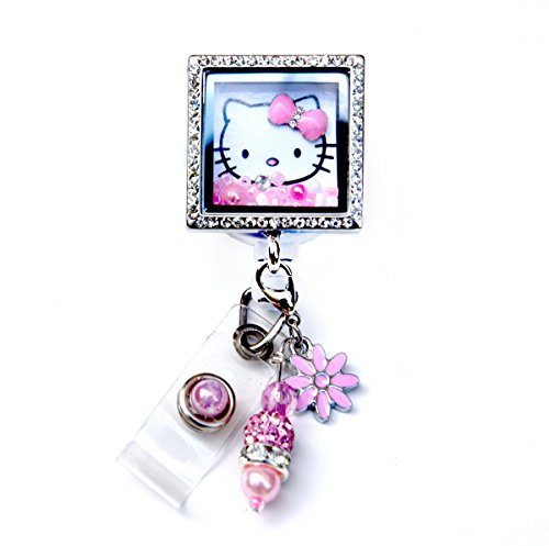 stone Memory Locket Retractable ID Badge Holders (Hello Kitty Square Locket Reel) ()