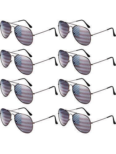 8 Pack Aviator USA America American Flag Sunglasses for 4th of July (Bronze Frame) -