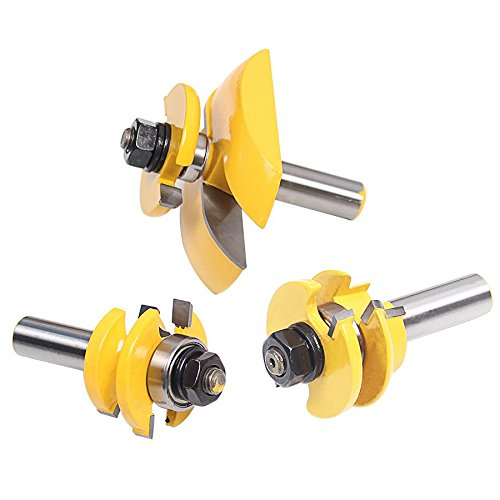 SODIAL 3Pcs 1/2inch Shank Rail & Blade Cutter Panel Cabinet Router Bits Set Milling cutter Power Tools Door knife Wood Cutter