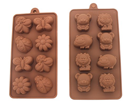 (Non-stick Candy Jelly Molds, Chocolate Molds, Soap Molds, Silicone Baking Molds - Forest Theme Happy Bear, Lion, Hippo & Bee, Butterfly - More Fun, Toy Kids Set, Set of 2)