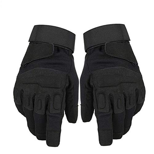 TOPTETN Army Tactical Gloves Outdoor Full Finger - Excellent Dexterity and Grip - Light Weight Police and Military Tactical Gloves - Reinforced Protection for Paintball, Airsoft, and Motor (Black, L)