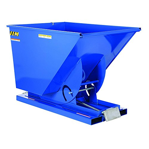 Vestil D-150-HD Heavy Duty Self-Dumping Hopper with Bumper Release, Steel, 6000 lb. Capacity, Overall L x W x H (in.) 68-3/8'' x 43-9/16'' x 51-13/16'', Blue by Vestil