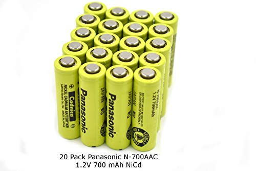 Contractor Pack - 20 Pcs - New Panasonic AA NiCd 1.2V 700 mAh N-700AAC Rechargeable Battery (Batteries Sanyo Nicad)