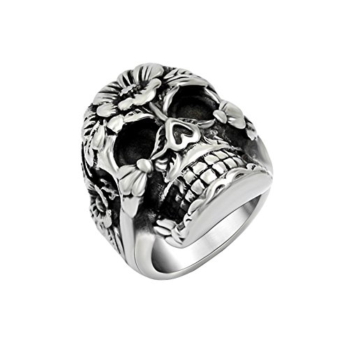 FANSING Mens Punk Biker Rings, Sugar Skull Ring Skeleton, Stainless Steel, Casting Black, Size 7-12