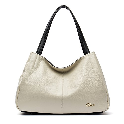 Cluci Leather Handbags Designer Tote Purse Satchel Shoulder Bag for Women Creamy White