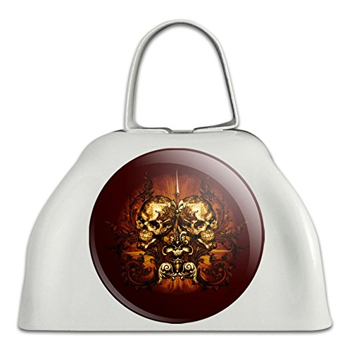 (Victorian Skulls Biker Chopper Motorcycle White Metal Cowbell Cow Bell Instrument)