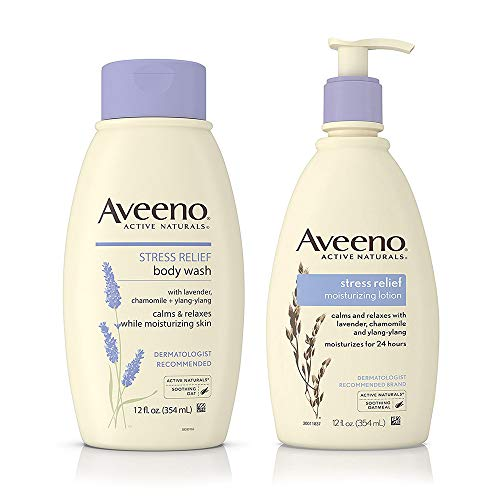 (AVEENO Stress Relief Body Wash With Lavender, Chamomile & Ylang-Ylang Oils 12 oz & Aveeno Stress Relief Lotion To Calm & Relax 12 oz ea)