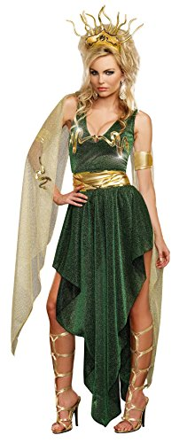 [GTH Women's Storybook Medusa Green Greek Goddess Theme Party Fancy Costume, S (2-6)] (Medusa Costumes Wig)