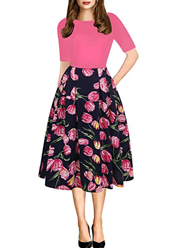 Misses Cocktail Dresses - oxiuly Women's Vintage Patchwork Pockets Puffy Swing Casual Party Dress OX165 (S, Rose Red)