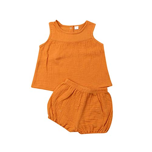 (2Pcs/Set Infant Kid Baby Girls Cotton Linen Ruffle T-Shirt Vest Tank Top Bloomers Shorts Summer Outfit 6M-3Y (2-3Y,)