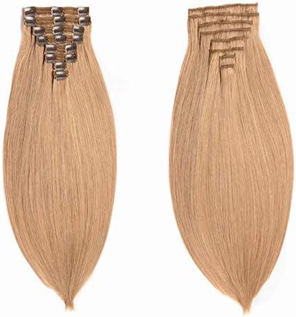 Clip en la extensión del cabello Remy Cabello humano 18 pulgadas 140g Marrón claro # 27 Color 8 piezas Doble trama Recta Extensiones de cabello real ...