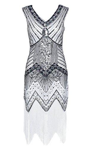 Vestido Vestido Cuello ArtiDeco Gatsby Estilo con V con en 20 Años Vintaje Lentejuelas Flecos Disfraz de xCPwSqC